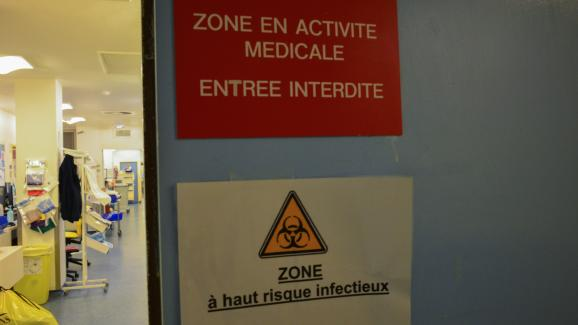 The entrance to the intensive care unit dedicated to coronavirus patients at Bichat hospital in Paris, March 13, 2020.