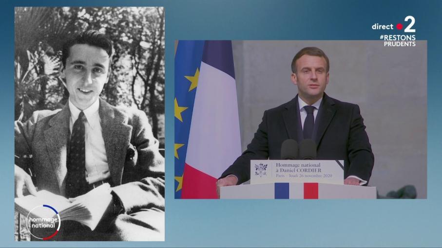 """REPLAY. Hommage national à Daniel Cordier: """"Cher Daniel, la flamme que vous avez allumée avec vos compagnons ne s'éteindra pas"""", déclare Emmanuel Macron"""