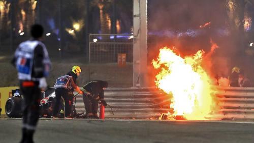 VIDEO. Le pilote de Formule 1 Romain Grosjean sort indemne d'un impressionnant accident lors du Grand Prix de Bahreïn
