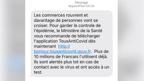Covid-19 : le gouvernement envoie des SMS aux Français pour les inciter à télécharger l'application TousAntiCovid