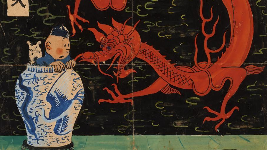 """Un dessin du """"Lotus bleu"""" de """"Tintin"""" pourrait être vendu plus de 2 millions d'euros"""