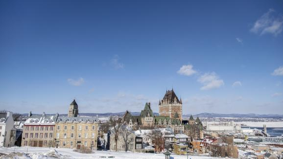 Winter landscape.  Quebec and the Château Frontenac seen from the Plains of Abraham.