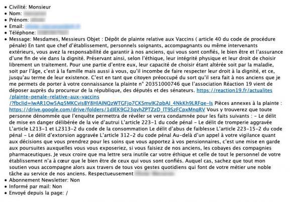 Capture écran du mail envoyé par un membre de l\'association réaction 19 à un Ehpad.