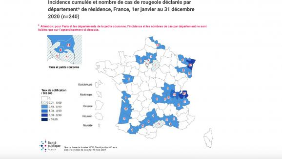 Cumulative incidence and number of reported measles cases by department * of residence, France, January 1 to December 31, 2020 (n = 240)
