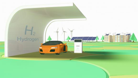 Σχέδιο ενός υδρογονοκίνητου αυτοκινήτου σε ένα πρατήριο καυσίμων στο μέλλον.  (Σχέδιο)