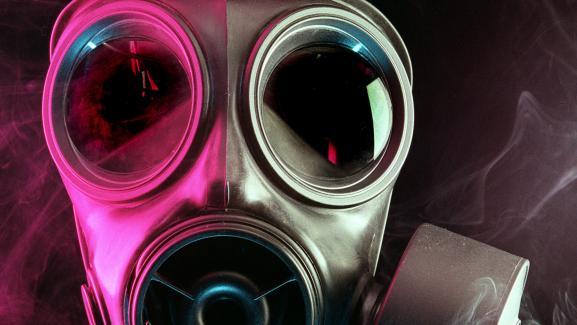 Φωτογραφία της μάσκας που λήφθηκε στις 17 Οκτωβρίου 2001, ως μέρος του εξοπλισμού NBC, Nuclear, Biological and Chemical Equipment.  Περιγραφή Μάσκα αερίων Anthrax.  & Nbsp;