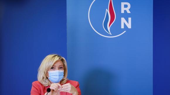 La présidente du Rassemblement national au siège du parti à Nanterre (Hauts-de-Seine) le 29 janvier 2021