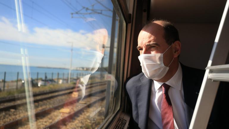Le Premier ministre, Jean Castex, participe au premier voyage du train de nuit Paris-Nice depuis 2017, le 20 mai 2021.