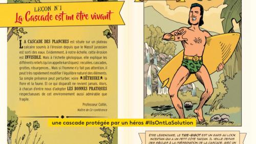 Face à l'afflux de touristes, l'Office de tourisme et la Communauté de communes du Cœur du Jura ont lancé un guide des bonnes pratiques sous forme de BD pour sensibiliser les visiteurs à la protection de la Cascade des Tufs. #IlsOntLaSolution