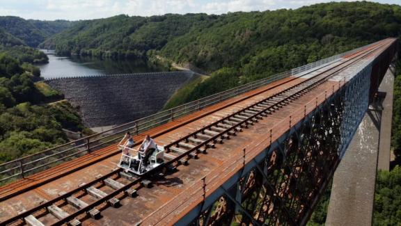 The Fades viaduct vélorail is celebrating its first year of existence this summer.  More than 23,000 people have already tested it.
