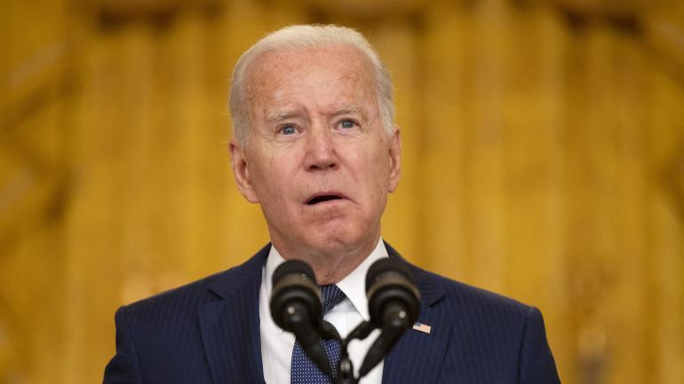 Le président américain Joe Biden lors d\'une déclaration après l\'attentat terroriste à l\'aéroport de Kaboul, jeudi 26 août.