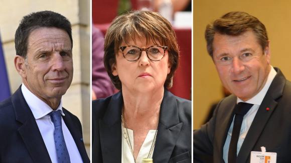 Le président du Medef Geoffroy Roux de Bézieux, la maire de Lille Martine Aubry et le maire de Nice Christian Estrosi.