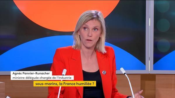 """La ministre déléguée chargée de l'Industrie, Agnès Pannier-Runacher, était, jeudi, l'invitée de """"Votreinvité politique"""" sur la chaîne franceinfo. Elle a évoqué l'annulation par l'Australie du """"contrat du siècle"""" prévoyant l'achat de douze sous-marins à la France pour un montant de 56 milliards d'euros."""