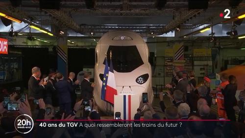 """Vendredi 17 septembre, le """"TGV du futur"""" a été dévoilé à l'occasion des 40 ans de ce train à grande vitesse lancé par Georges Pompidou et construit sous Valéry Giscard d'Estaing. Il fait aujourd'hui partie de la vie des Français, et son visage pourrait encore changer dans les années à venir."""