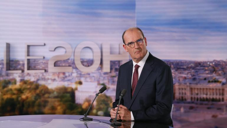 """Jean Castex sur le plateau du \""""20 heures\"""" de TF1, le 3 juillet 2020, à Boulogne-Billancourt (Hauts-de-Seine)."""