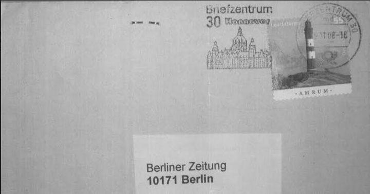 """Un courrier émanant d'un groupe d'antinucléaires allemands a été envoyé depuis Hanovre le 8 novembre 2008, le lendemain du sabotage des lignes SNCF, au journal """"Berliner Zeitung"""". (""""ENVOYE SPECIAL"""")"""