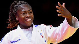 Clarisse Agbegnenou, après sa victoire contre Andreja Leski, en finale des championnats du monde de judon le 9 juin 2021 à Budapest. (YANNICK VERHOEVEN / ORANGE PICTURES / AFP)
