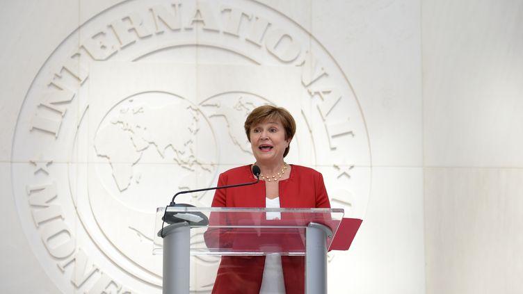La nouvelle présidente du FMI, Kristalina Georgieva, lors d'une conférence de presse à Washington (Etats-Unis), le 25 septembre 2019. (ERIC BARADAT / AFP)