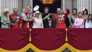 La famille royale britannique lors de la parade militaire traditionnellement organisée pour l'anniversaire de la reine Elizabeth II, le 13 juin 2015 à Londres, au Royaume-Uni. (BEN STANSALL / AFP)