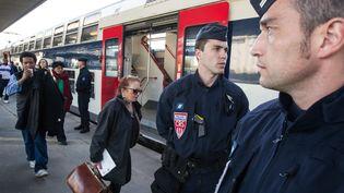 Des forces de l'ordre en patrouille dans le RER D dans l'Essonne, le 23 avril 2013. (MATTHIEU DE MARTIGNAC / MAXPPP)
