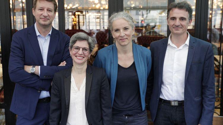 Les quatre candidats officiellement en lice pour la primaire écologiste, le 12 juillet 2021 à Paris. (GEOFFROY VAN DER HASSELT / AFP)