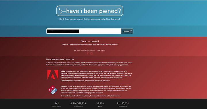 Capture d'écran du site haveibeepwned, qui indique si votre adressepourrait avoir été touchée par une faille de sécurité. (FRANCETVINFO)