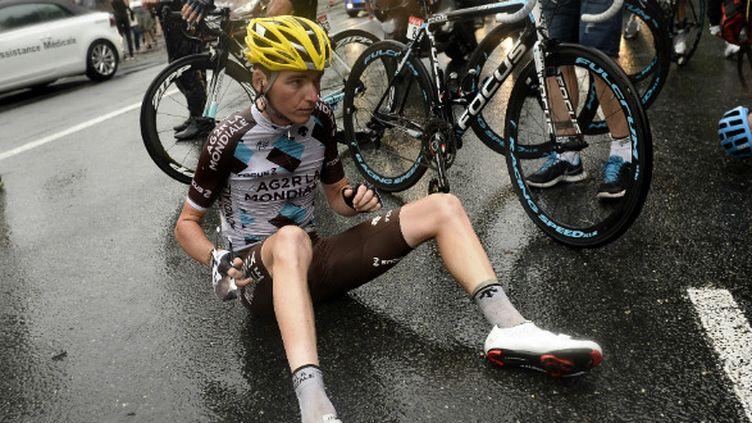 Romain Bardet à terre dans le final de la 19e étape du Tour 2014