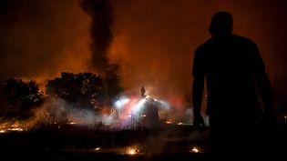 Un habitant regarde les pompiers lutter contre les flammes, à30 kilomètres d'Athènes (Grèce). (LOUISA GOULIAMAKI / AFP)