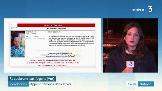 Inondations : appel à témoins pour retrouver un homme disparu dans le Var