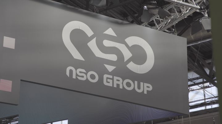 Logo de NSO Group au salon Milipol à Paris en novembre 2019. (FORBIDDEN STORIES)