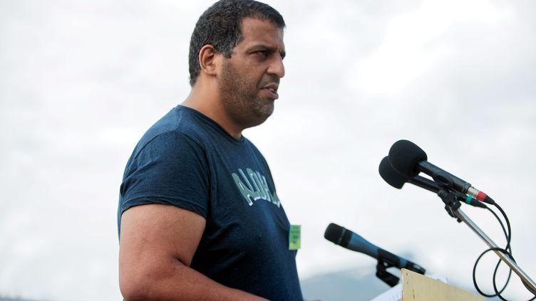 """Karim Ben Ali, lors du rassemblement """"Paroles de résistances"""" au plateau des Glières, en juin 2018. (GREGORY YETCHMENIZA / MAXPPP)"""