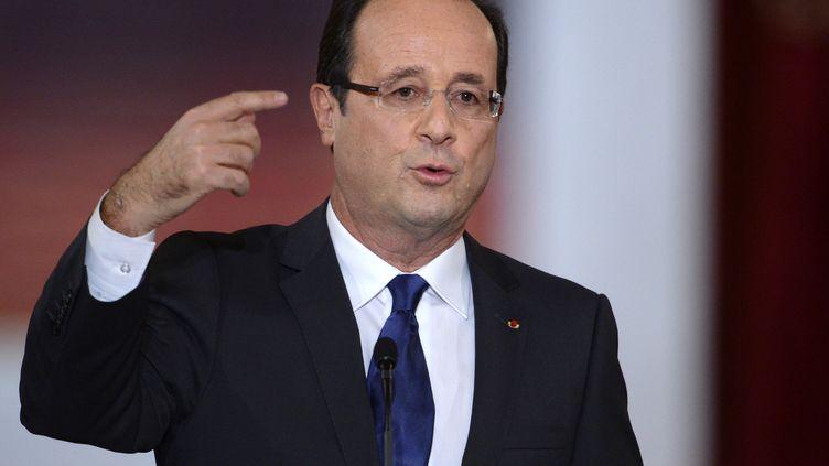 François Hollande lors de sa conférence de presse au palais de l'Elysée (Paris), mardi 13 novembre 2012. (MARTIN BUREAU / AFP)