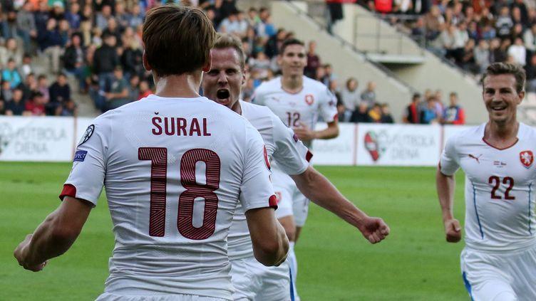La joie des joueurs de la République Tchèque (PETRAS MALUKAS / AFP)