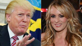 Le président des Etats-Unis, Donald Trump et l'actrice porno, Stormy Daniels. (MANDEL NGAN / AFP)