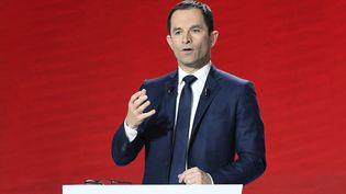 Le candidat Benoît Hamon, lors du deuxième débat télévisé de la primaire de la gauche, le 15 janvier 2017. (BERTRAND GUAY / AFP)