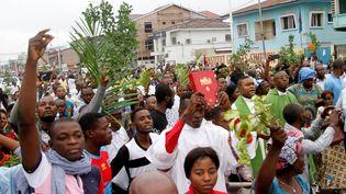 Des manifestants catholiques lors d'un rassemblement anti-Kabila à Kinshasa le 21 janvier 2018 (KENNY-KATOMBE BUTUNKA / X03393)