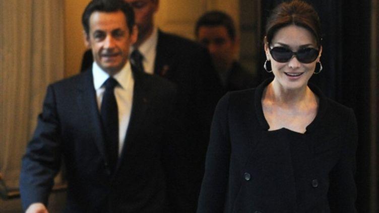 Carla Bruni-Sarkozy et son époux Nicolas Sarkozy, à New York le 29 mars 2010. (AFP - Stan Honda)