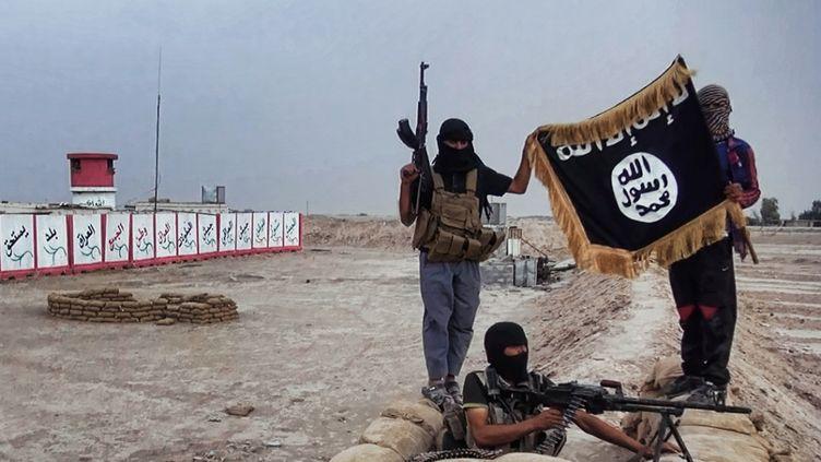 Image fournie par un site web jihadiste, montrant des militants de l'EIIL à un checkpoint pris à l'armée, dans le nord de l'Irak, le 12 juin 2014. (WELAYAT SALAHUDDIN / AFP)