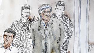 Croquis deWojciech Janowski, le 17 septembre 2018 à la cour d'assises d'Aix-en-Provence (Bouches-du-Rhône). (BENOIT PEYRUCQ / AFP)