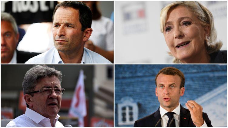 L'association Anticor a porté plainte contre quatre candidats à la présidentielle de 2017, le 13 juin 2018. Il s'agit de Benoît Hamon, Marine Le Pen, Jean-Luc Mélenchon et Emmanuel Macron. (CHARLY TRIBALLEAU / ALAIN JOCARD / GERARD BOTTINO / EMMANUELE CONTINI / AFP)
