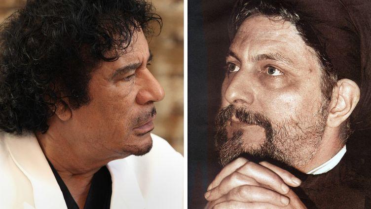 L'ancien et défunt dirigeant libyen Mouammar Kadhafi (à gauche), le 9 juillet 2008 à Londres, accusé par le mouvement chiite libanais Amal d'avoir fait disparaître son fondateur l'Imam Moussa Sadr, (à droite, en photo d'archives des années 70), en 1978 à Tripoli. (AFP)