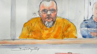 Un portrait d'Alain Penin devant la cour d'assises de Douai (Nord), le 20 janvier 2014. (BENOIT PEYRUCQ / AFP)