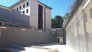 Une cour de promenade végétalisée à la prison de la Santé. (MATHILDE LEMAIRE / RADIO FRANCE)