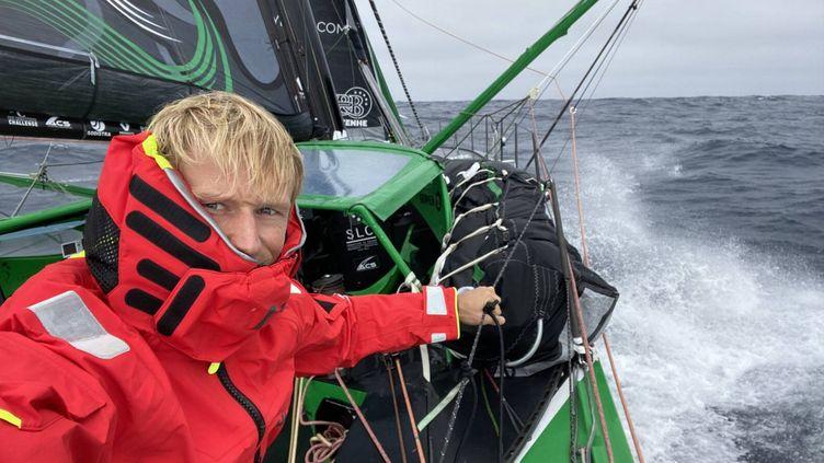 Maxime Sorel sur son bateau le 30 novembre 2020. (© Maxime Sorel / VandB - Mayenne)