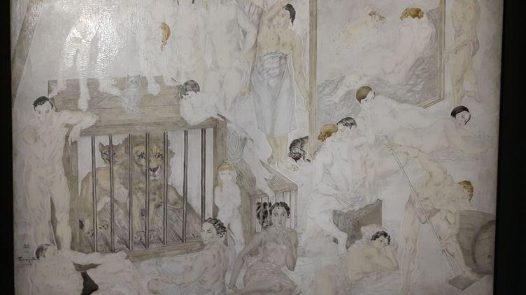 """La """"Composition au lion"""" de Foujita, exposée au musée Maillol à Paris. (ANNE CHEPEAU / RADIO FRANCE)"""