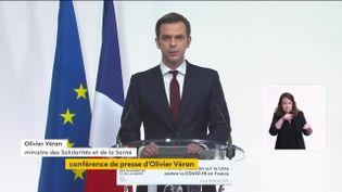 Le ministre de la Santé, Olivier Véran, lors d'un point sur la situation sanitaire, le 18 février 2021. (FRANCEINFO)