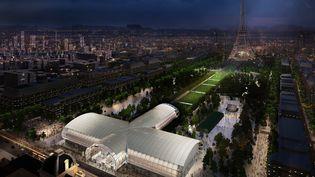 Reconstitution du Grand Palais Éphémère sur le Champ-de-Mars, une fois terminé. (WILMOTTE&ASSOCIÉS ARCHITECTES)