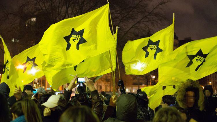 Des drapeaux de la Ligue de défense juive lors d'une manifestation contre l'humoriste Dieudonné place de la Bastille, à Paris, le 16 janvier 2014. (ANTHONY DEPERRAZ / CITIZENSIDE / AFP)