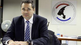 François Thierry en 2012, dans les locaux de l'office des stups à Nanterre (Hauts-de-Seine). (PATRICK KOVARIK / AFP)