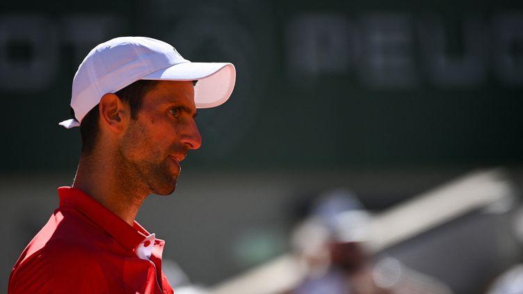 Novak Djokovic durant la finale de Roland-Garros 2021 contre Stefanos Tsitsipas, le 13 juin 2021 (ANNE-CHRISTINE POUJOULAT / AFP)